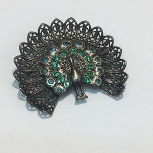 Vintage silver filagree stone peacock brooch pin